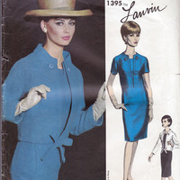 Lanvin Dress & Jacket 1960s Vogue Paris Original Sewing Pattern 1395 Size 16 Bust 36 inches