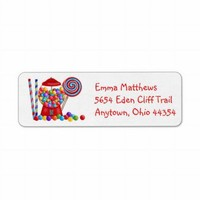 Gumball Machine Return Address Labels from Zazzle.com