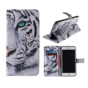 Fashion White Tiger Leather Stand Wallet Money/Card Slots Case Cover for IPhone 5 5s Se 6 6Puls 6s 6sPuls 7 7PLUS Iphone8,Samsun