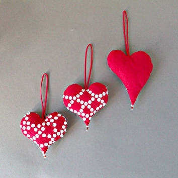Small red heart Christmas ornaments Xmas tree hanging decors