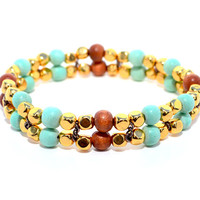 Gold and Wood Beaded Bracelet, Stretch Bracelet, Women's Bracelet, Gold Jewelry, Turquoise Bracelet