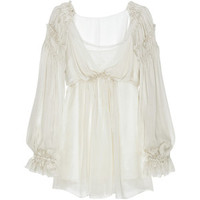 Ruffled silk-chiffon blouse