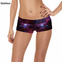 Qickitout Shorts 2016 Sexy New Fitness Shorts Women Sexy Galaxy Scales Cute Cat Leopard Digtal Print Elasticity Shorts