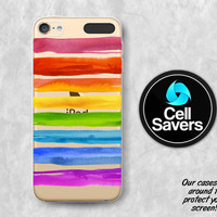 Rainbow Stripes Clear iPod 5 Case iPod 6 Case iPod 5th Generation iPod 6th Generation Rubber Case Gen Clear Case Paint Watercolor Strokes