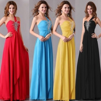 Grace Karin Colorful Chiffon Long Prom Dress Stunning One shoulder Wedding Bride Princess Evening Dress = 1929432644