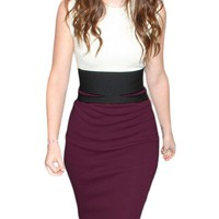 Miusol Celebrity Midi Contrast Bodycon Pencil Evening Dress, Ship From Us (Small/US Size 4/6, Purple)