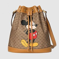 Disney Mickey Small Lucky Bag Bucket Bag Crossbody Shoulder Bag Gift Box Bag Women's Bag A Mouse Mickey Brown