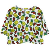 Pineapple Watermelon Print Cropped Tee - OASAP.com