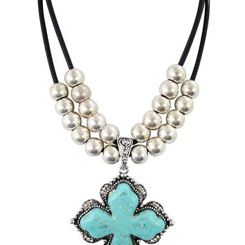 Western Cowgirl Chunky Turquoise Cross Pendant Necklace for Women