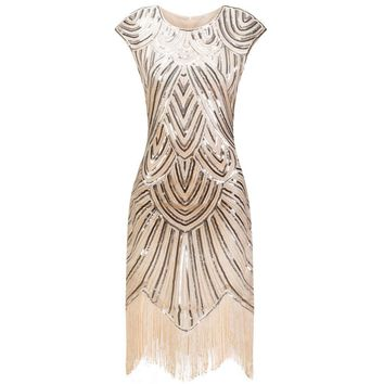 2017 Summer Vintage 1920s Flapper Great Gatsby Sequin Fringe Party Dress Cap Sleeve Mesh Midi Dress Women Vestidos De Fiesta