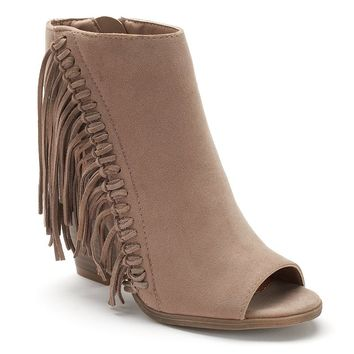 sugar Leta Women's Fringe Peep-Toe Booties