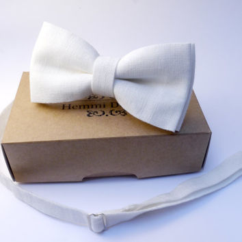 linen white bow tie, White bow tie- Groom's Bow tie, bow tie for men
