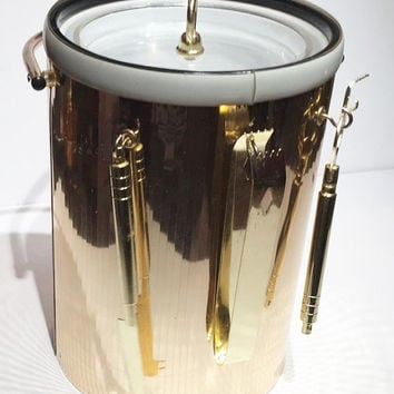 Vintage Mid Century Modern Ice Bucket, Gold Chrome and Clear Acrylic Set, Mad Men Barware, 1960's Vintage Ice Bucket with Set of Bar Tools,