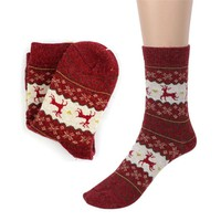 Men's Socks Christmas Deer Casual knit Wool Winter