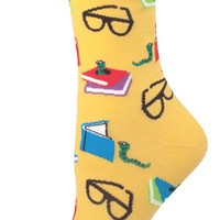 Women's Bookworm Comfortable Crew Novelty Socks - Nylon/Cotton/Lycra