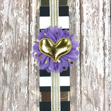 White and Metallic Gold Stripe Planner Band with Puffy Gold Heart on Purple & Gold Flower