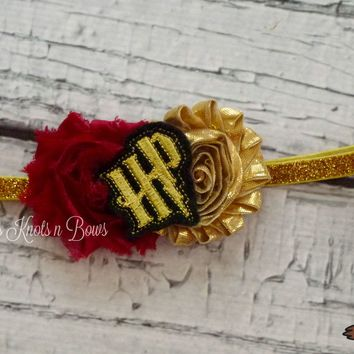 Girls Harry Potter Gryffindor Headband, Shabby Chic Harry Potter Headband, Baby Girls, Toddlers, Teens, Womens Headband