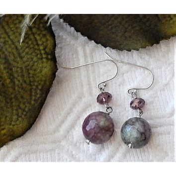 One of a Kind Sterling Silver Faceted Amethyst Quartz Druzy Crystal Dangle Earrings