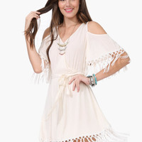 Cream Cutout Shoulder Fringed Mini Dress