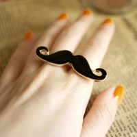 World Pride Handlebar Mustache Vintage Adjustable Double Ring