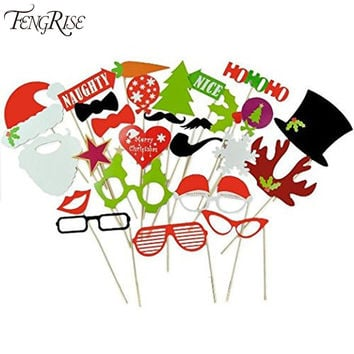FENGRISE 27pcs Photo Booth Props Christmas Decorations Xmas Funny Hat Tree Gifts PhotoBooth Supplies For Home