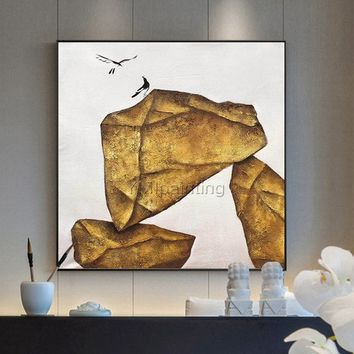 Stone morden bird oil original Gold painting on canvas huge size extra large birds wall pictures home decor Home Decor cuadros abstractos