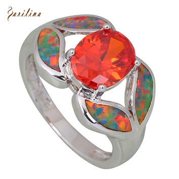 Fashion women' ring Red Topaz Garnet Opal 925 Sterling Silver Overlay jewelry ring size 6 7 8 9 R412