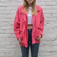 Pink Nylon Windbreaker - L