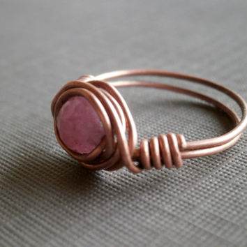 Handmade Ruby Ring. Ruby Gemstone Wire Wrapped Ring. Gemstone Ring. Antique Copper Jewelry. July Birthstone. Wire Wrapped Jewelry.