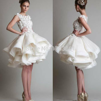 Cocktail Dresses 2016 New Gorgeous Jewel Appliques Knee Length Short Prom Dresses Ball Gown Graduation Tiered vestidos de fiesta