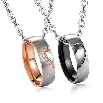 His & Hers Matching Set Titanium Stainless Steel Heart with Heart Couple Pendant Necklace in a Gift Box (A Set)