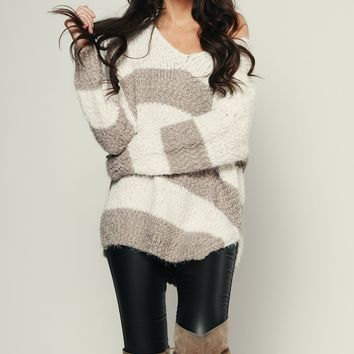 Keep It Straight Striped Sweater (Ivory/Grey)