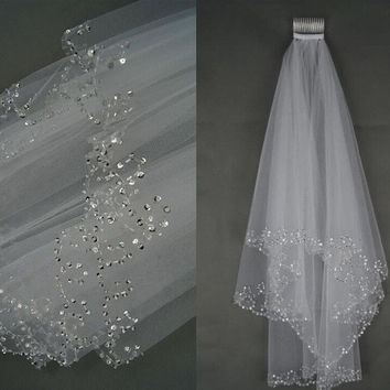 2T White/ivory Elbow Beaded Edge Pearl Sequins Bridal Wedding Veil With Comb = 1932702532
