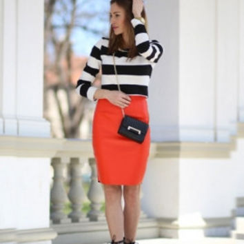 Orange PU Pencil Skirt