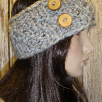 Knit Headband Ear Warmer Hand Knit Oatmeal Gray Tweed Woodsy Chunky Seed Stich With Wood Buttons