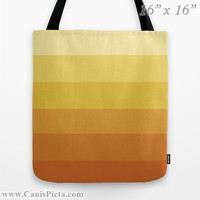"Ombre ""Navel Orange"" 13x13 Tote Bag Yellow Citrus Orange Citrine Color Fade 16x16 18x18 Gift Her Him Spring Summer Back to School Harvest"