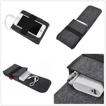Power Bank Mouse USB Cable Digital Accessories Felt Storage bag