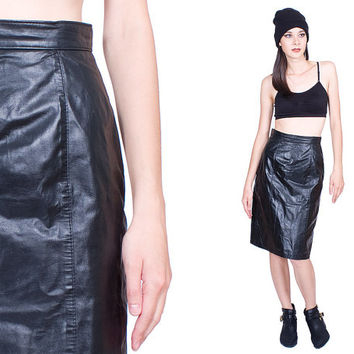 Black Leather Skirt Vintage 80s Daniel Marcus Edgy Pencil Mid Length 1980s Shiny