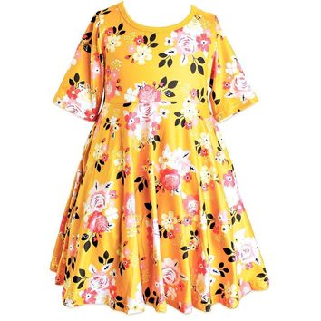 Garden Party Golden Summer Skater Dress