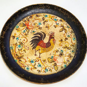 Vintage Mid-century Italian Wood Plates with Rooster & Country Flowers Motif - Made in Japan Rustic Shabby Chic Retro Kitchen Home Decor