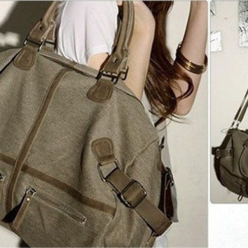 New Men Women Vintage Canvas Duffel Messenger Satchel Briefcase Tote School Bag handbag [7976529671]