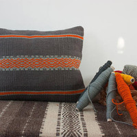 Gray with orange handmade pillow cover, kilim handwoven wool pillow cover, boho pillow case handmade of unique wool textile