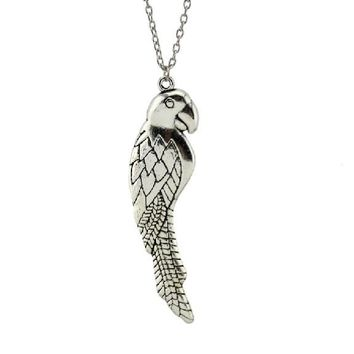 26 Inch Silver Parrot Pendant Necklace For Women