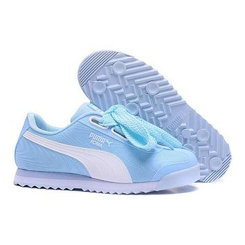 PUMA Roma TK Graphic Trending Women Stylish Bow Running Sport Shoes Sneakers Light Blue I/A