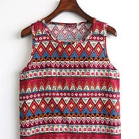 Red Tribal Print Crop Tank Top