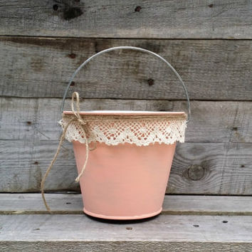 Rustic Flower Girl Bucket,  Peach Pail with Cream Lace, Rustic Wedding Decor, Flower Girl Basket, Shabby Chic Wedding Decor