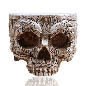 Skull Skulls Halloween Fall P-Flame White Antique Sculpture Human  Planter Garden Storage Pots Container Macetas Decoration Flower Pot For Home Decor Calavera
