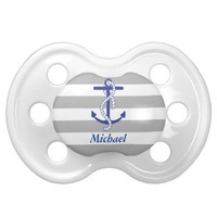 Blue Anchor Gray Stripe Personalized Baby Pacifier
