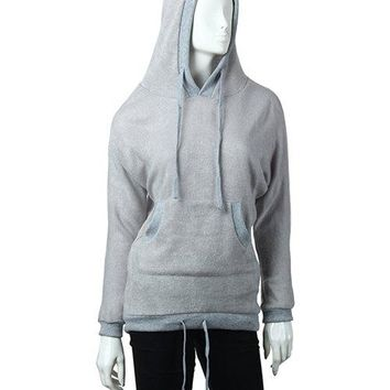 Fashion Hooded Solid Color Batwing Long Sleeves Loose-Fitting Blended Women's Hoodie