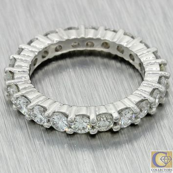 Vintage Estate Platinum 2.24ctw Diamond 3mm Wide Eternity Wedding Band Ring